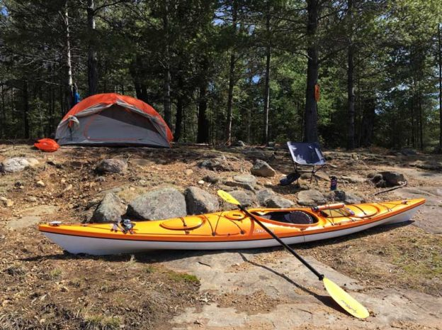kayak and tent